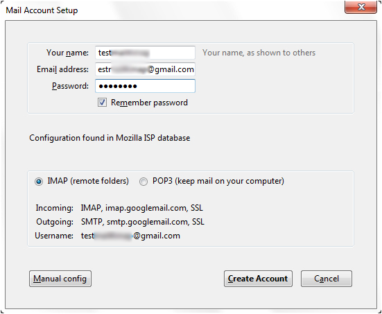 thunderbird manual config gmail