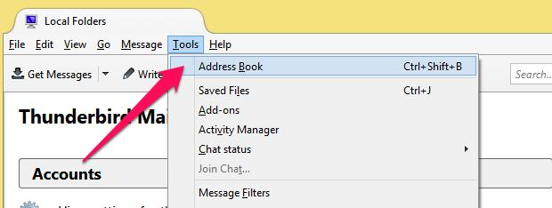 thunderbird address book contacts option