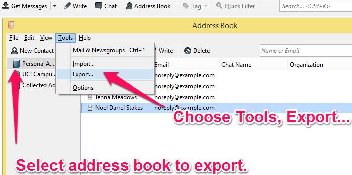 thunderbird address book export option