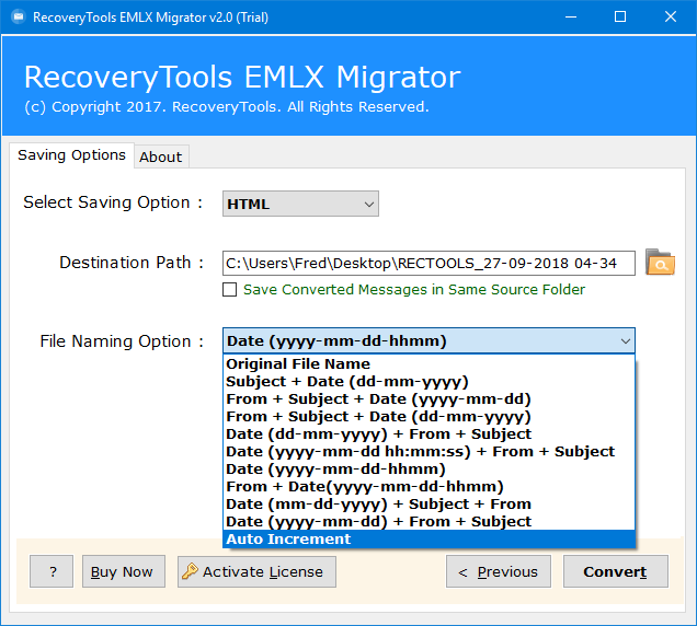 setup eml to mht conversion options