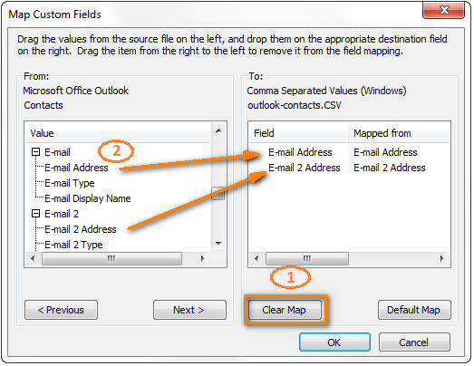 import from outlook to excel
