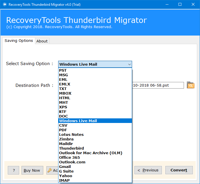 Thunderbird to Windows Live Mail Converter - Export/Import