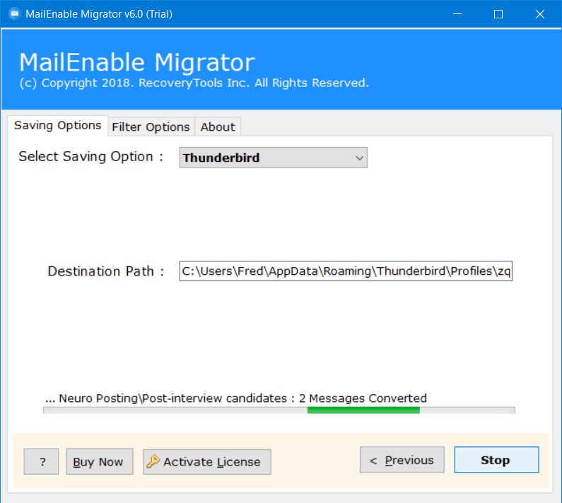 migrate mailenable to thunderbird
