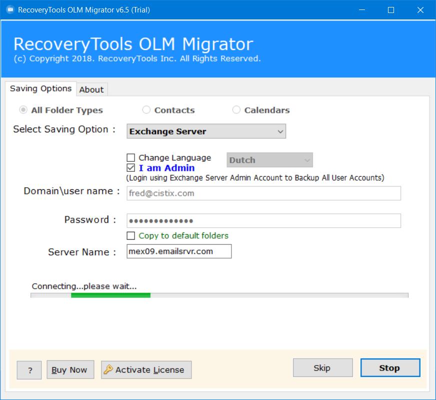 convert olm to exchange server