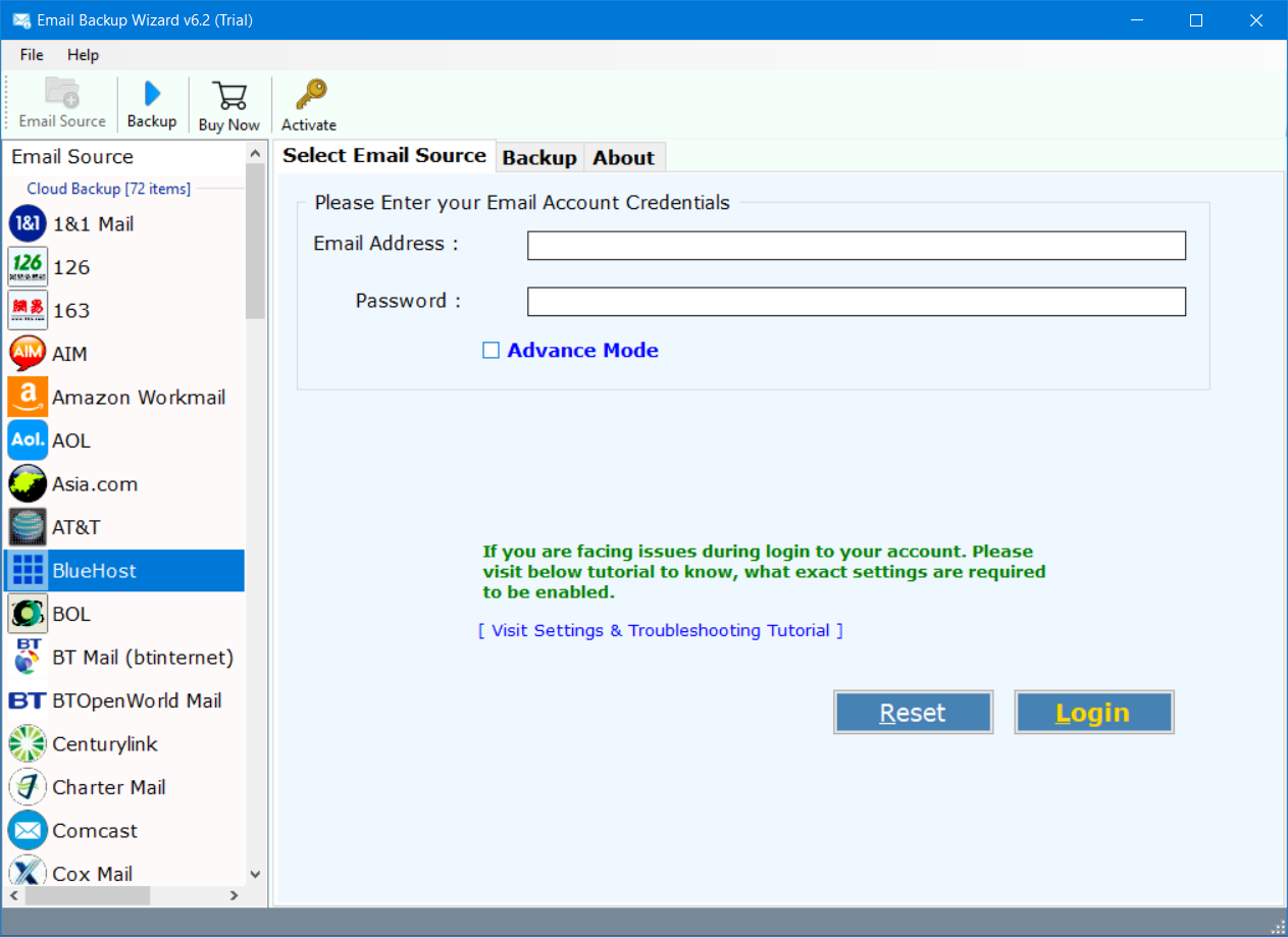 bluehost email backup