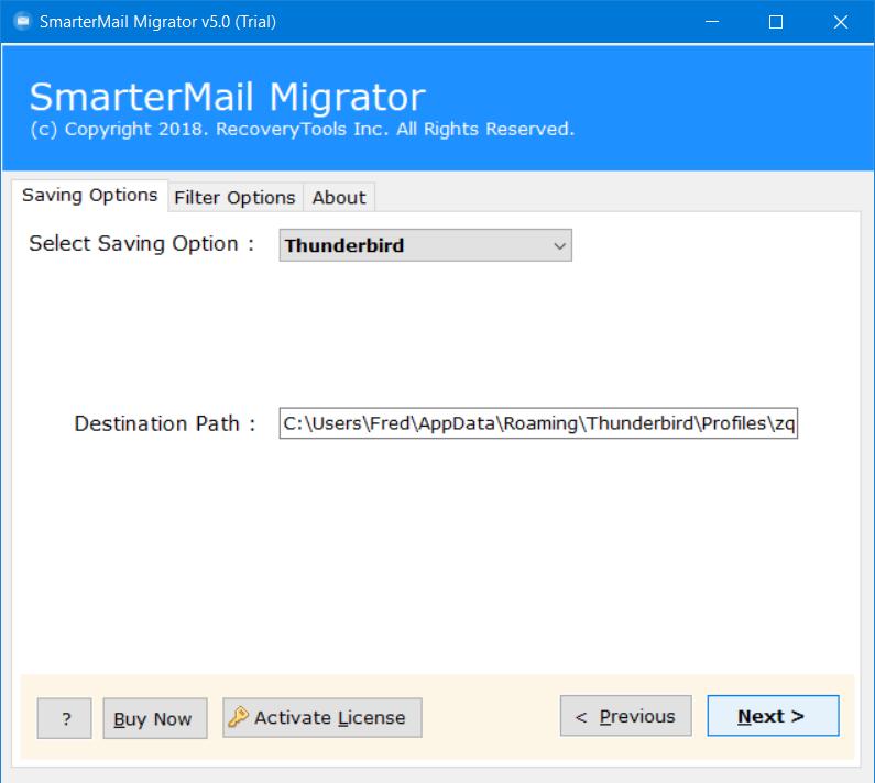 export smartermail to Thunderbird