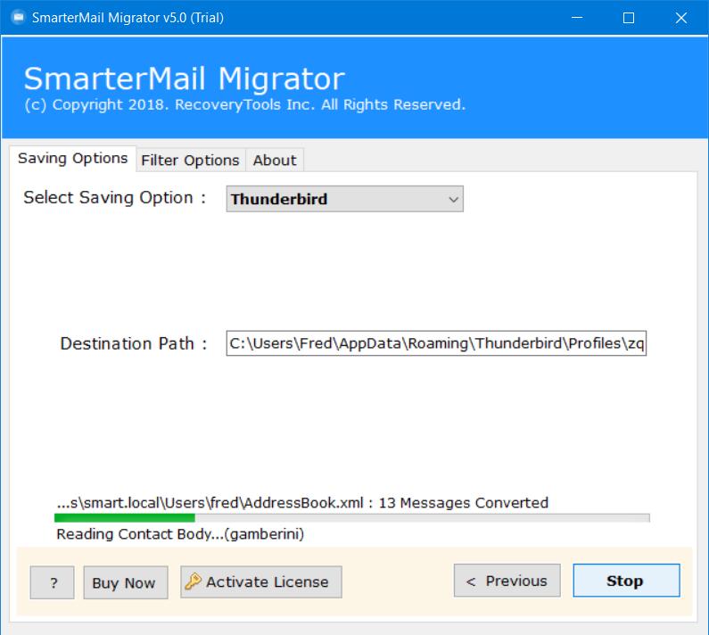 analyze smartermail to thunderbird export