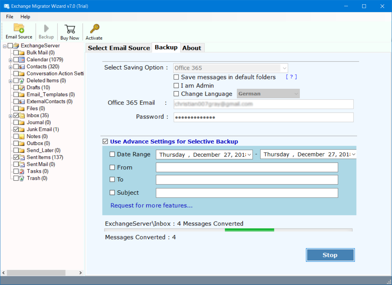 transfer email from exchange to office 365