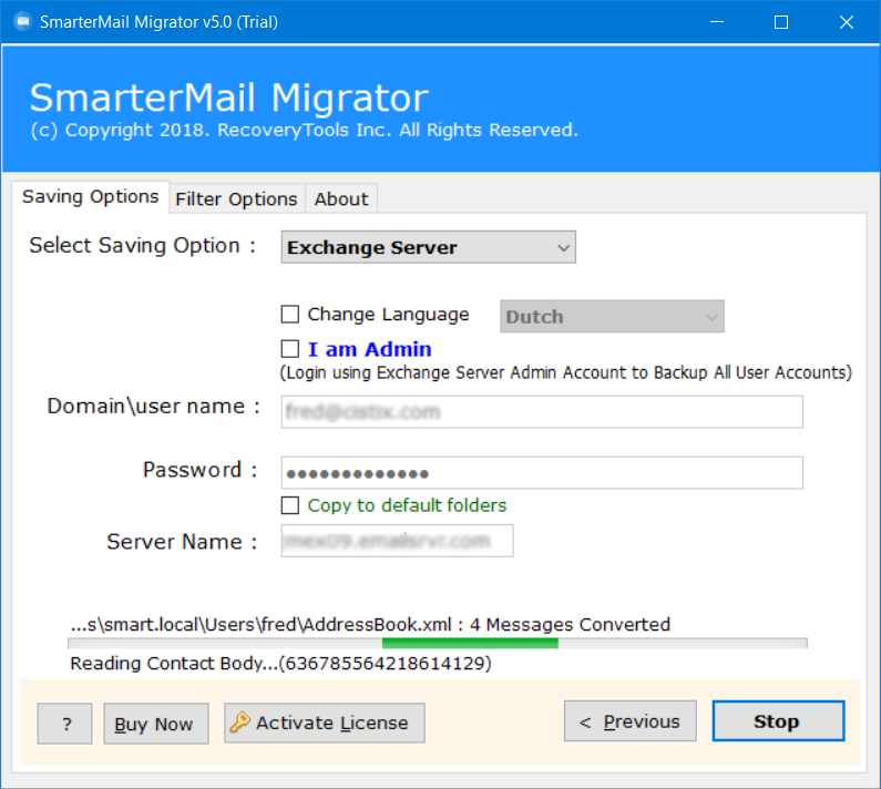 smartermail to Microsoft exchange web services