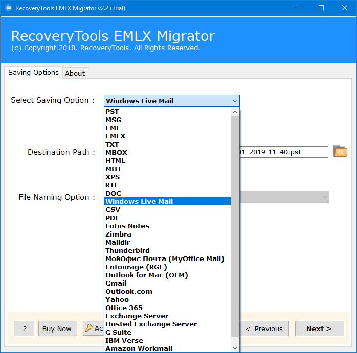 Emlx to windows live mail