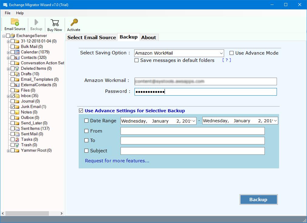exchange to amazon web service migration