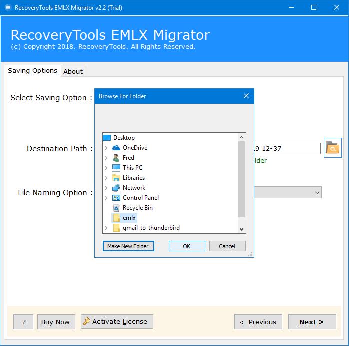setup emlx to pdf conversion options