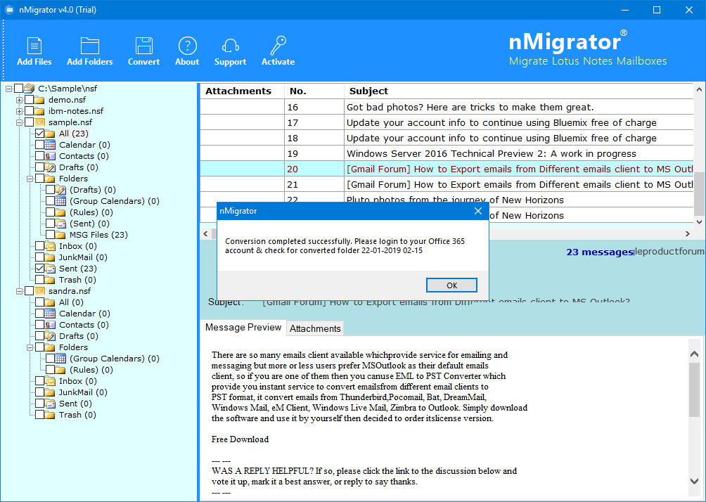 email migration from lotus notes to office 365