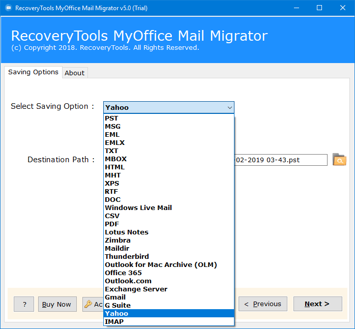 myoffice mail to yahoo migration