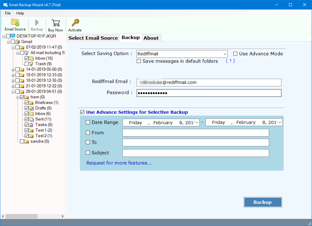how to transfer gmail to rediffmail