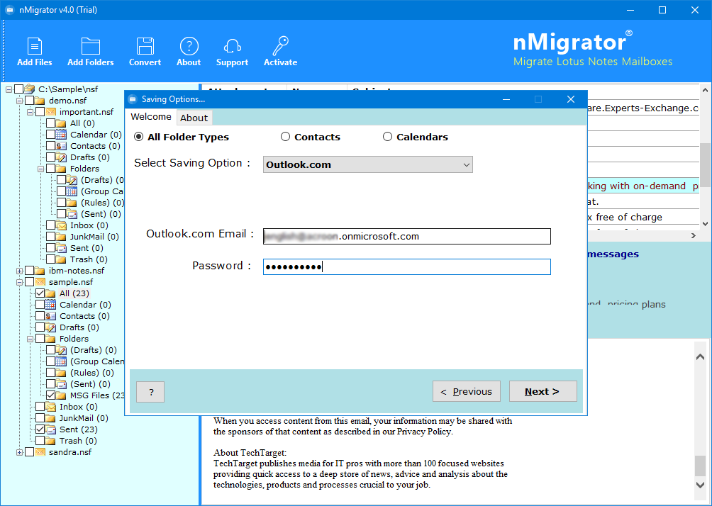 lotus notes to outlook.com