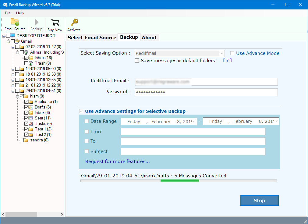how to transfer email from gmail to rediffmail