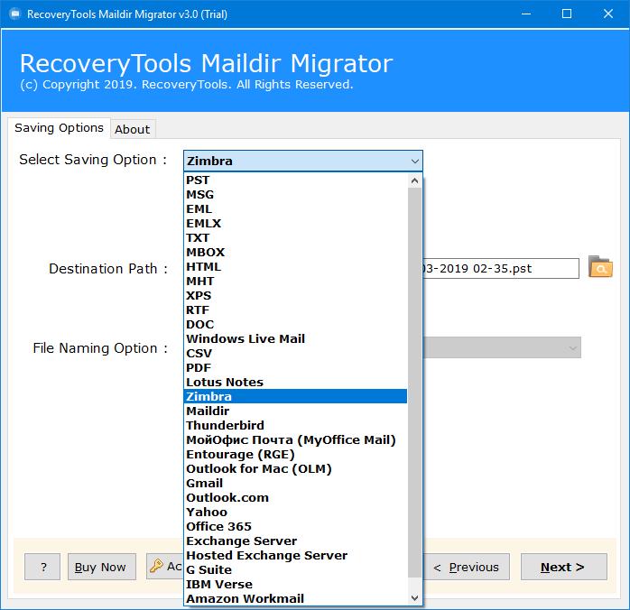maildir to zimbra migration
