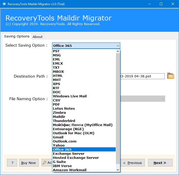 migrate dovecot to office 365