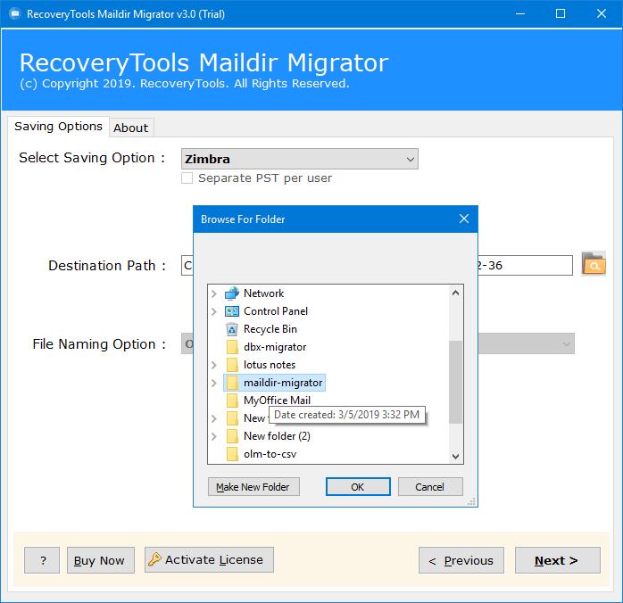 export maildir files to zimbra