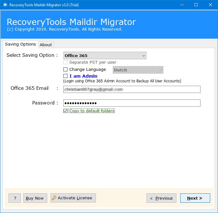 import maildir to office 365