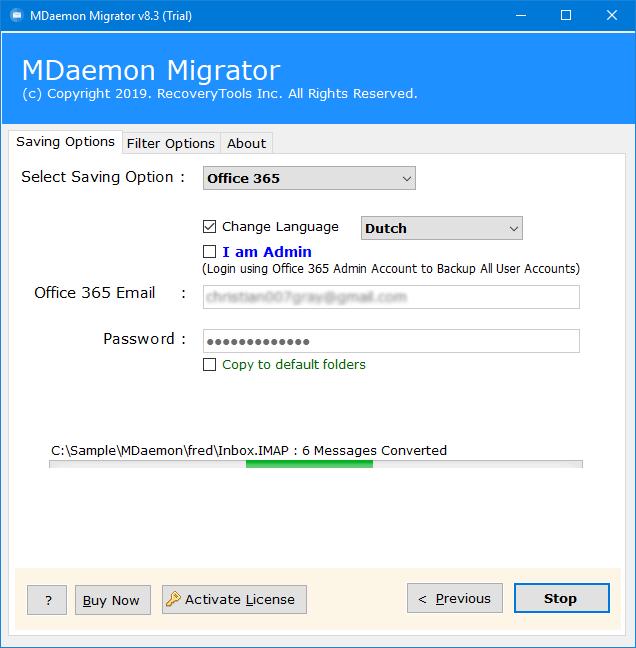 mdaemon imap to office 365