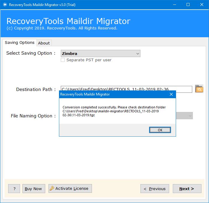 maildir to zimbra migration process finished