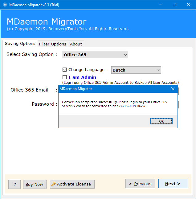 mdaemon migrate to office 365