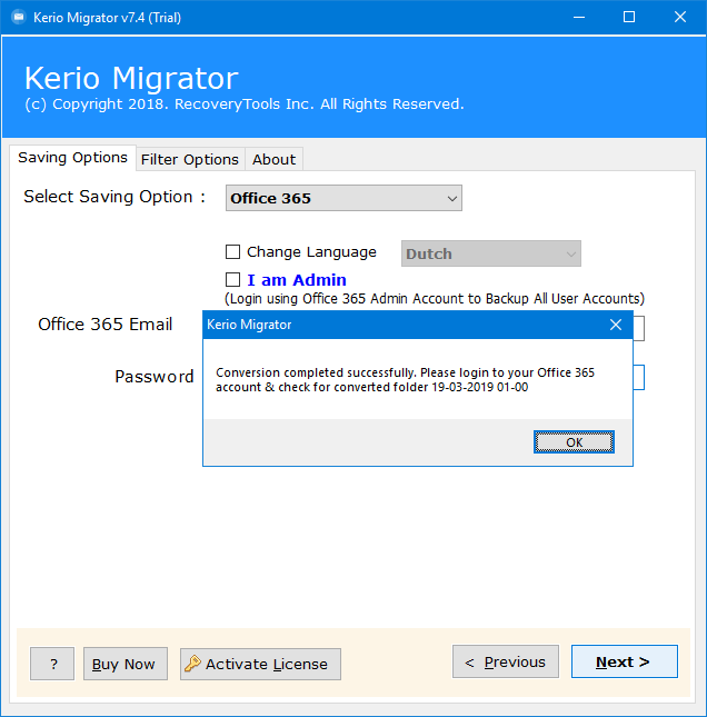 kerio mail to office 365