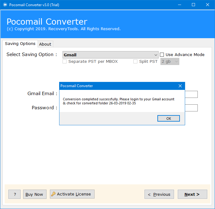 pocomail emails to gmail