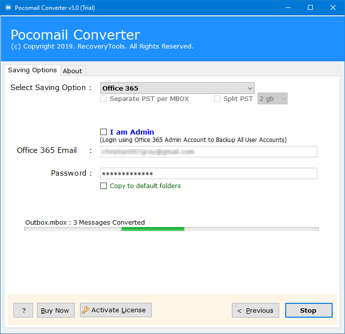 pocomail to hosted exchange server