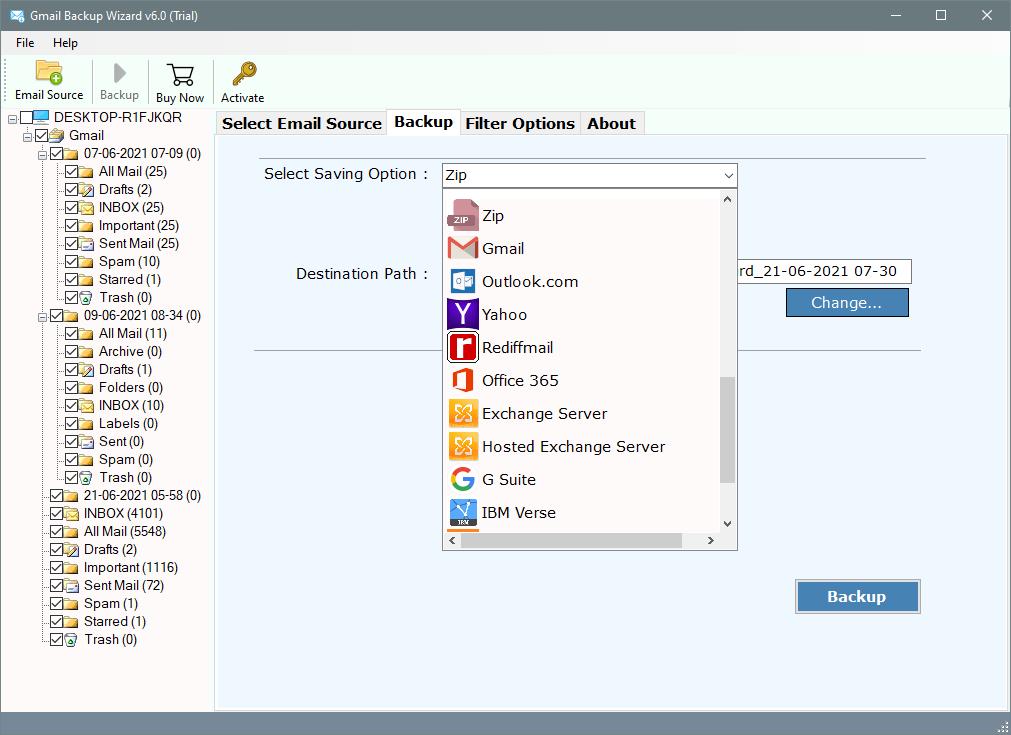 setup gmail email to zip option