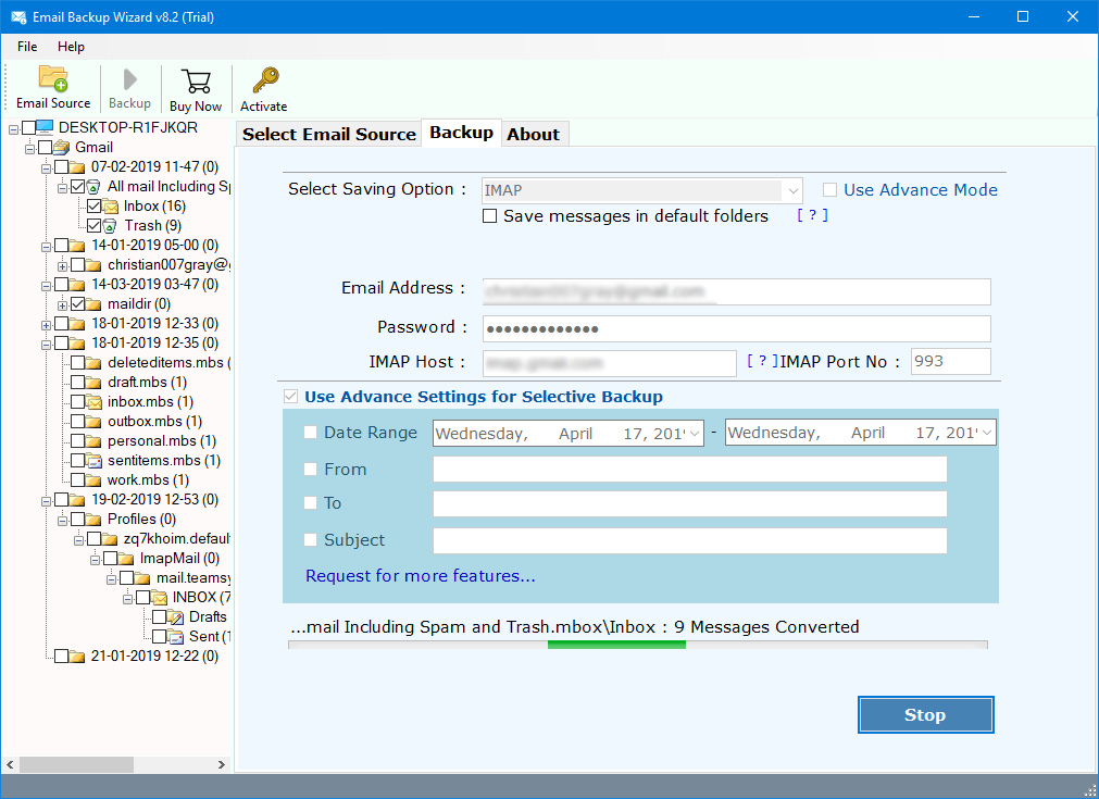 move gmail emails to icloud