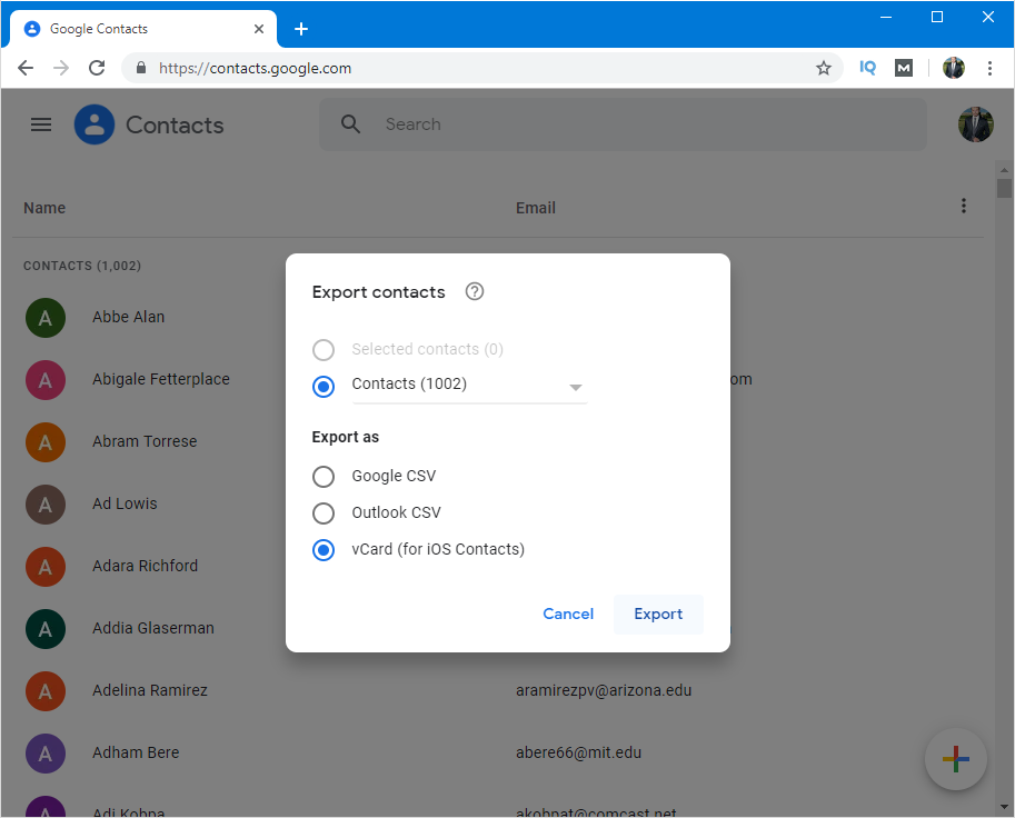 import gmail contacts to outlook mac