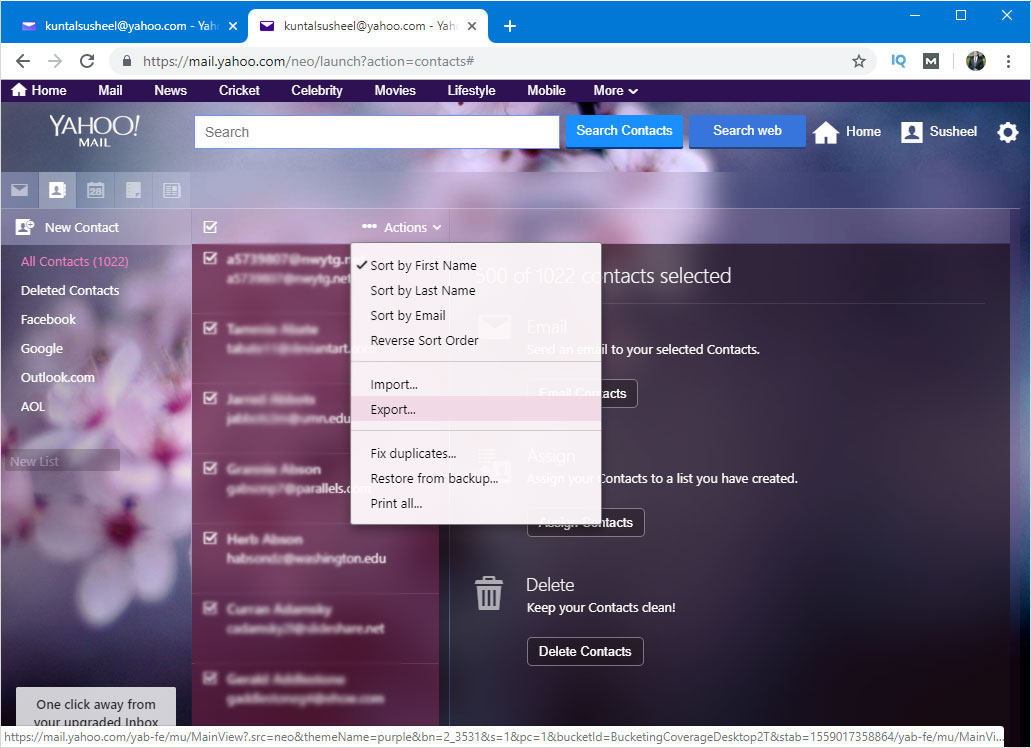 mport contacts from yahoo to outlook for mac