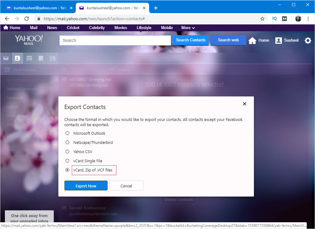 yahoo contacts to olm