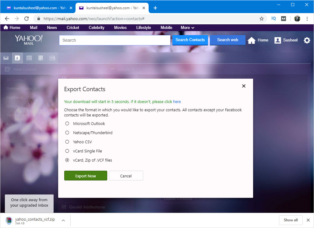download yahoo contacts