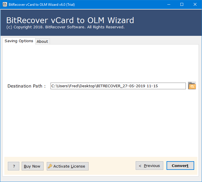 vCard Files to OLM files