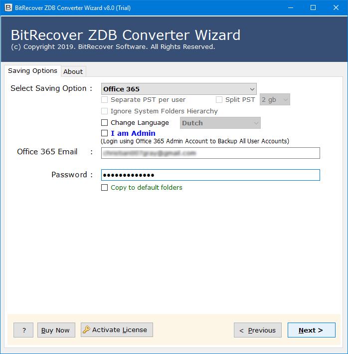 zdb to exchange server