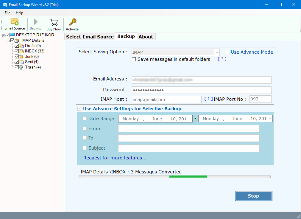 how to move emails from one account to another