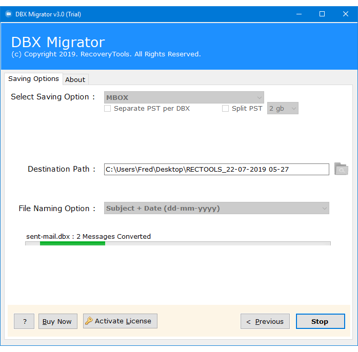 how to convert dbx to mbox