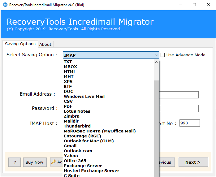 IncrediMail to IMAP Migration tool