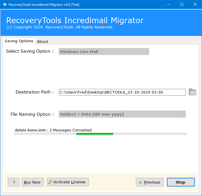 transfer incredimail to windows live mail