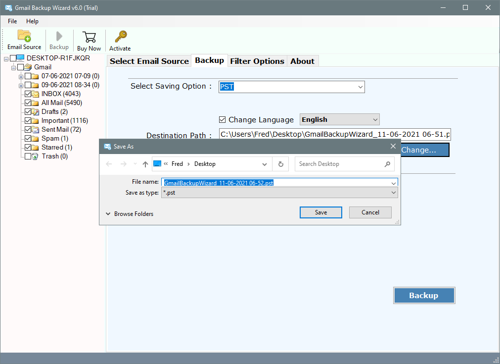 Export gmail to outlook