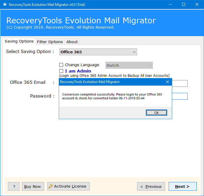 evolution connect to office 365