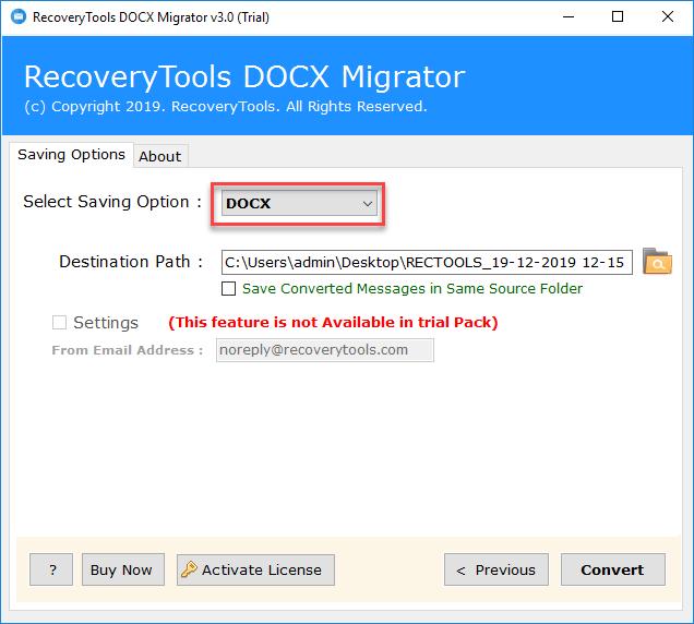 DOCX as Saving option