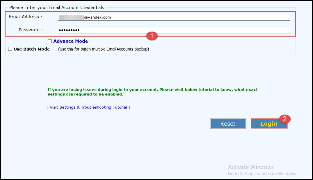 Enter the Yandex login credential
