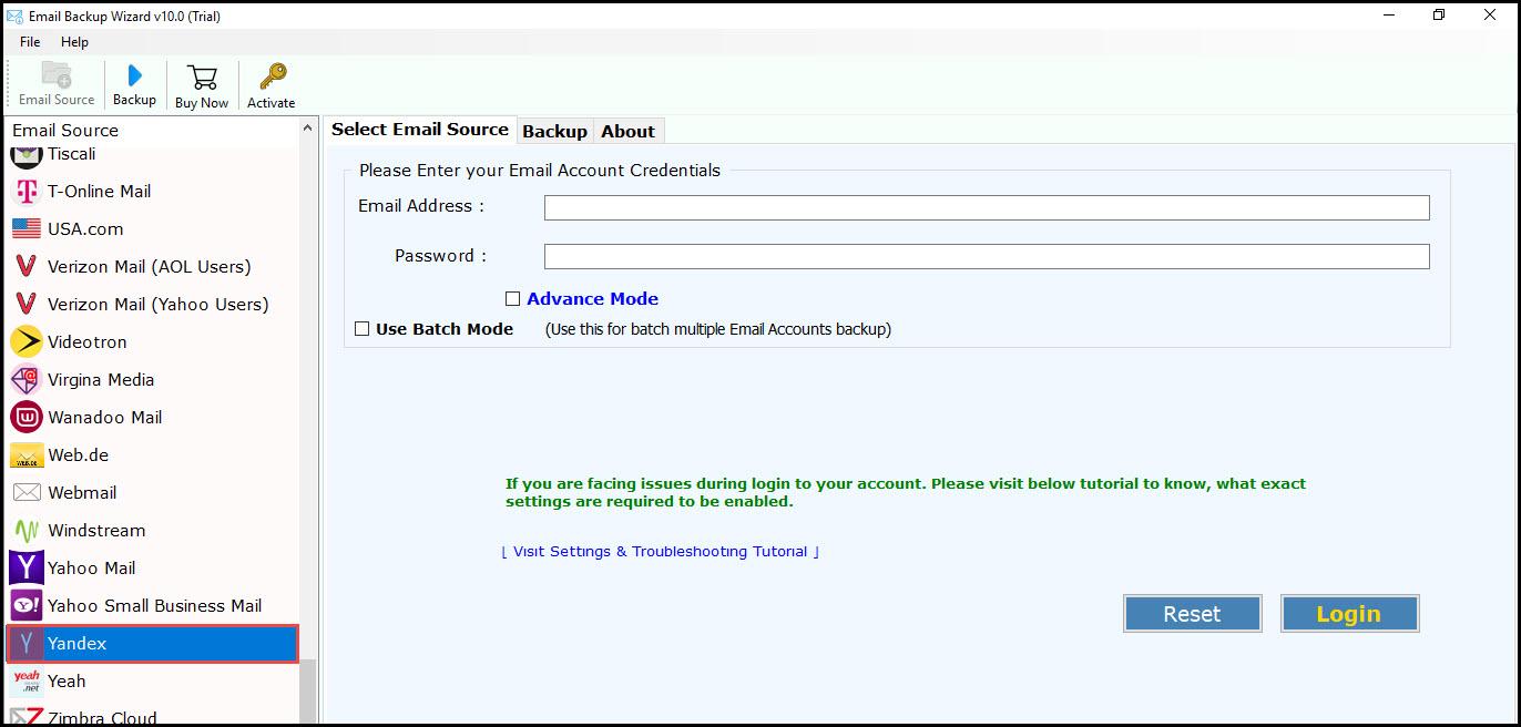 Select Yandex backup email