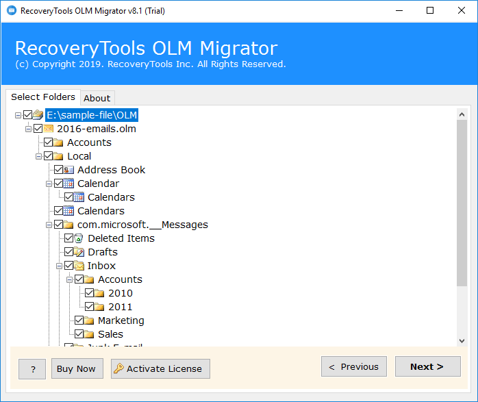 Choose the required files to convert OLM to Word