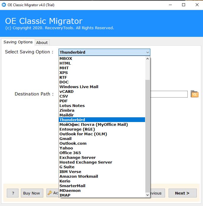 Export OE Classic to Thunderbird
